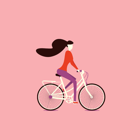 Girl doing outdoor sport activities, girl on a bicycle, traveling, cycling