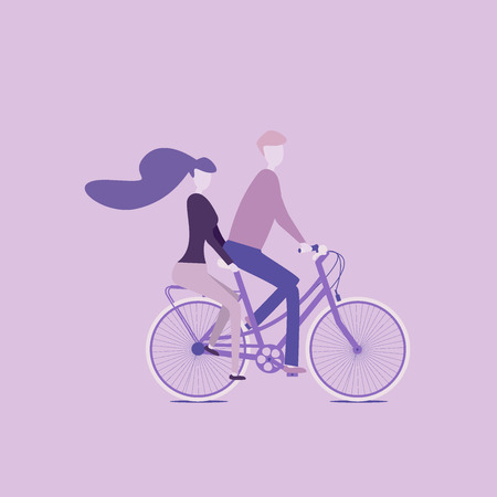 Couple riding together on a bicycle, love is all around, outdoor activities together
