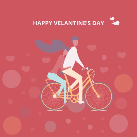 Couple cycling together, man and women riding a bicycle, lovers traveling on a bicycle  イラスト・ベクター素材