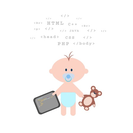 Children coding illustration. Coding for kids articles and sites. Programming education for kids  イラスト・ベクター素材