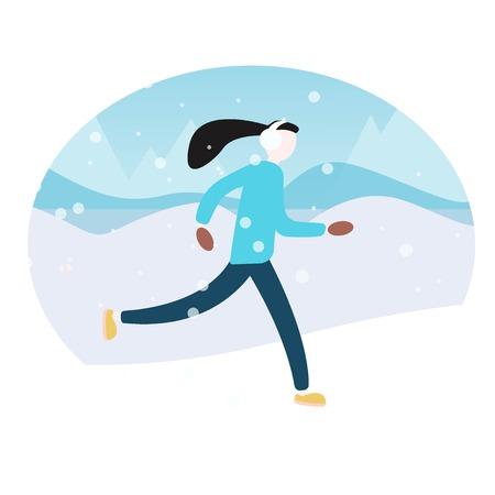 illustration of woman running in winter morning. Flat vector landscape. Woman running winter marathon