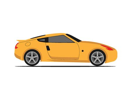 Illustration of yellow car vector on white background