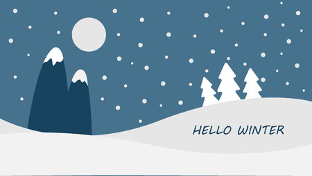 Hello Winter Blue winter landscape snowy funny Snowmen snowman Vector snowdrifts falling snow falling snowflake snowflakes Merry Christmas Happy New Year xmas Shining snowfall snowball balls december  イラスト・ベクター素材