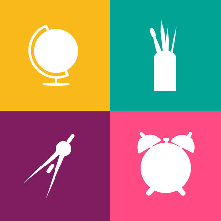 Set of simple vector isolated icons vector, pencil, pen, alarm clock, table lamp