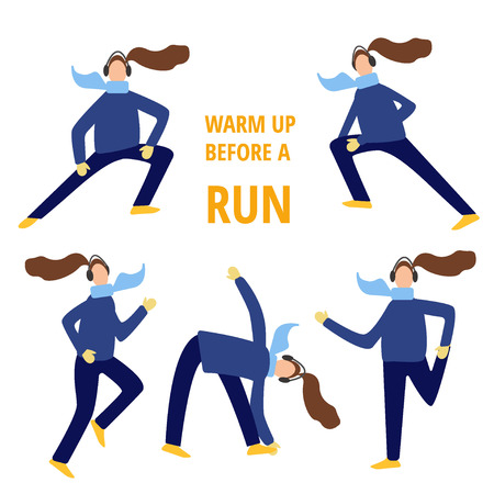 women tying laces before running in winter, flat cartoon vector illustration on white background. Getting ready for running in winter - stretching and dressing in warm clothes
