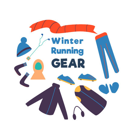 Winter running gear. Set of winter clothes and accessories for running. Vector illustration.