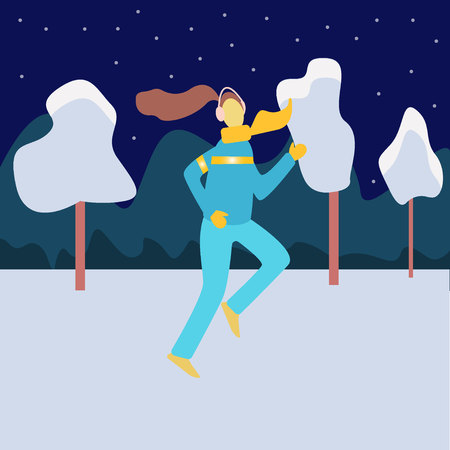 Winter running concept. Young athletic woman doing running in winter colored city park. Evening or early morning winter town with snow. Vector illustration in flat style
