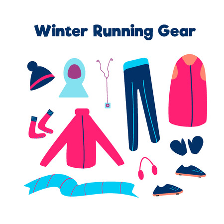 Set of clothes for running in cold weather isolated on a white background. Vector illustration.