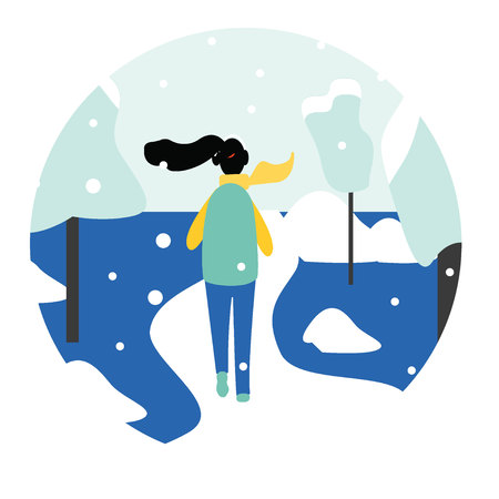 Winter running concept - young pretty woman in warm clothes jogging in snow covered park, flat cartoon vector illustration on white background. Winter running banner - young woman running in park