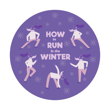 Set of people, men and women, running in winter season, flat cartoon vector illustration isolated. Set of men and women running, jogging in winter season, dressed in warm clothes warming up