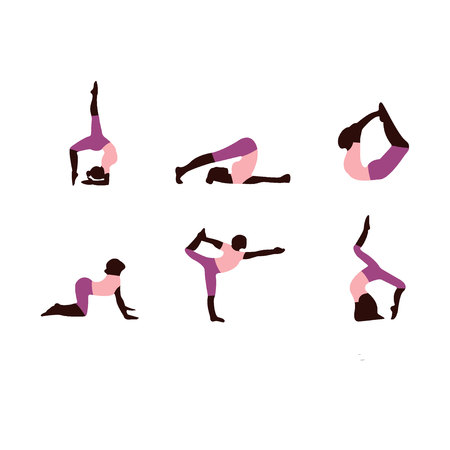 Icons of woman in different upturned yoga poses for flexible, strong and relaxed spine. Set of colored yoga silhouettes on white background.