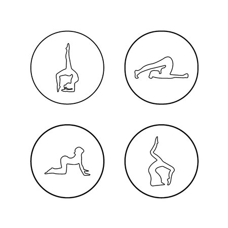 Vector set of yoga poses in a linear style. Women practicing yoga. Yoga postures and Assan.