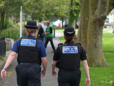 devon: Devon and Cornwall police officer and PCSO walking the streets of North Devon 2