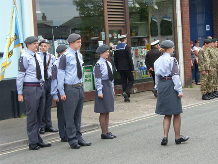 lining up: Air cadets lining up for drill