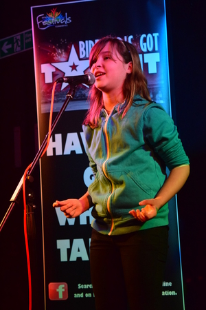 11 year old: 11 year old girl sings on stage at Bidefords got talent