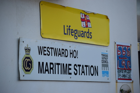 lifeboats: Westword Ho Lifeguards sign Editorial