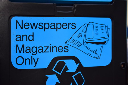 Newspaper bin - blue photo