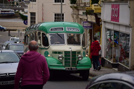 old bus: Old bus driving in Bideford, DEVON