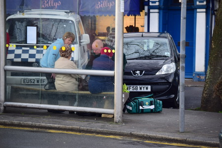 Ambulance deals with an old lady who fell over while out shopping in Bideford, Devon a small down in the cost of England. The lady was okay and was taken to Hospital
