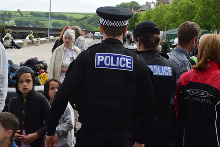 devon: Devon and Cornwall police walking in Bideford North Devon