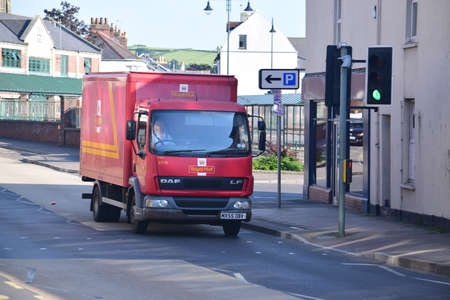 indian postal stamp: Royal mail Van in Barnstaple - north Devon