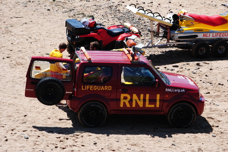 on duty: RNLI Lifeguards on duty at Bude