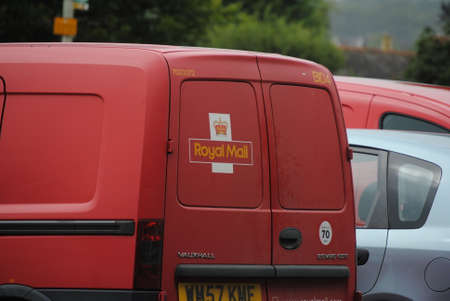 indian postal stamp: Royal mail van, Uk postal service Editorial