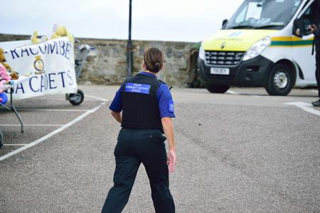 PCSO Police community support officer walking, North Devon
