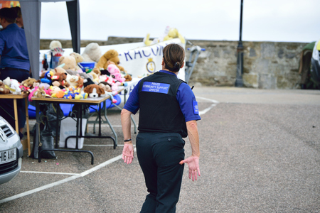 PCSO Police community support Officer Walking