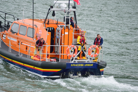 lifeboat: RNLI Lifeboat in the North Devon Sea