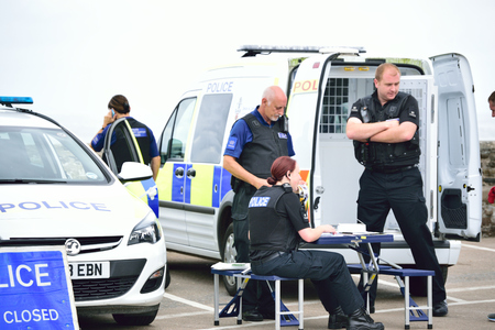 policing: Police at a local policing Event in Devon, UK