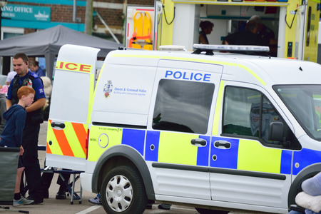 Devon and Cornwall police Van Parted in-front of an ambulance