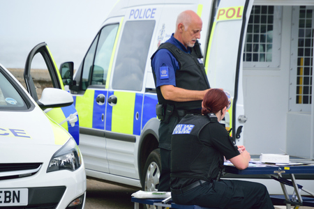 Devon and Cornwall police at a Community open day talking to members of the public Editorial