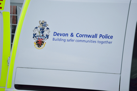 Devon and Cornwall Police sign on a Police van.