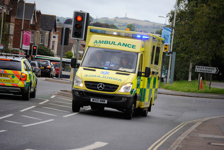 blue lights: Ambulance on blue lights 999 call Editorial