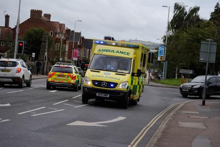 blue lights: Ambulance on Blue lights Editorial