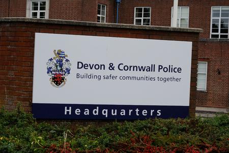Devon and Cornwall police sign - Exeter, Devon - 08092014
