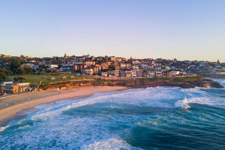 Bronte Beach aerial view in the morning.