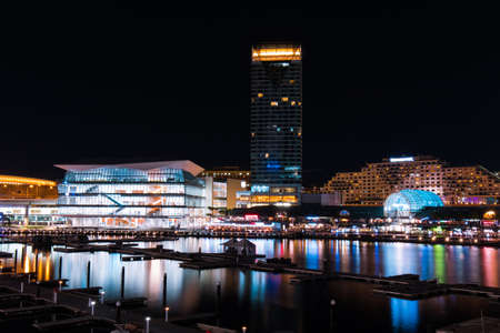 Night view of Darling Harbour at Sydney, Australia. Stock Photo