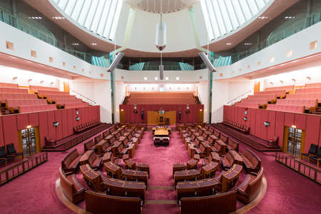 Canberra, Australia - October 14, 2017: A view inside Senate chamber in Parliament House Editorial