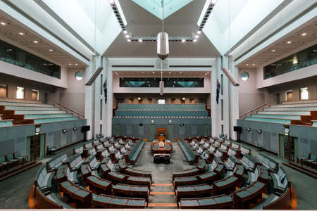 Canberra, Australia - October 14, 2017: A view inside House of Representative chamber in Parlianment House. 新聞圖片