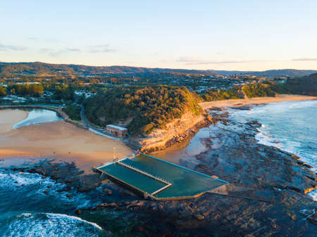 Aerial view of Narrabeen rock pool and its headland.