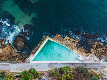 Aerial view of rock pool at Manly, Sydney, Australia.