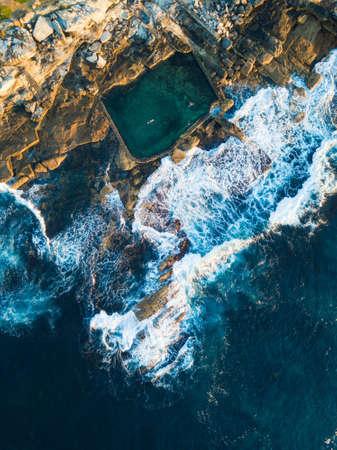 Aerial view of Mahon pool at Maroubra Beach, Sydney, Australia. Фото со стока