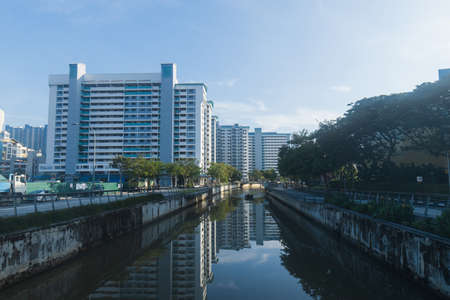 Morning view along the Rochor River, Singapore. Editorial