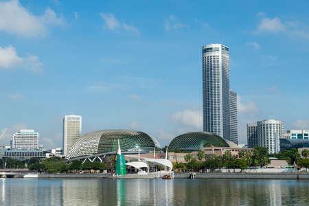 Singapore - December 4, 2018: Esplanade and Stamford hotel in Marina Bay.