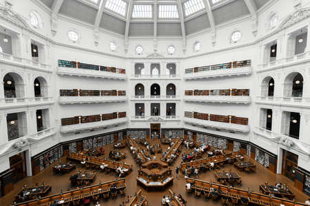 Melbourne, Australia - January 8, 2019: The view inside State of Library dome or known as La Trobe reading room.