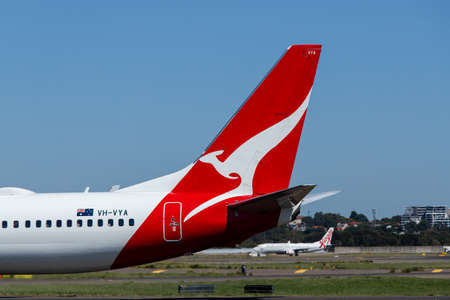 Sydney, Australia - February 12, 2019: Qantas Boeing 737 airplane tail.