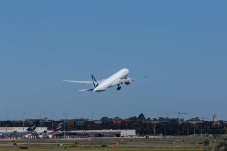 Sydney, Australia - February 12, 2019: Cathay Pacific Boeing 777 taking off at Kingsford Smith Sydney International Airport. Registration B-KQA