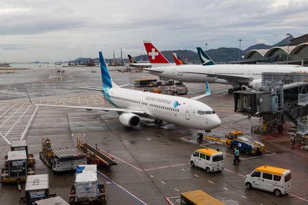 Hong Kong - October 6, 2019: Garuda Indonesia Boeing 737 at Hong Kong International Airport. Registration PK-GMG.